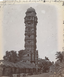 General view from the south of the Jaya Stambh or Tower of Victory, Chittaurgarh [Chitorgarh]